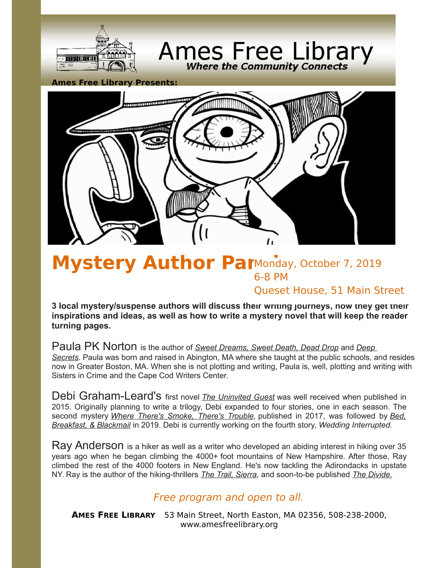 Mystery Author Panel Flyer AMES